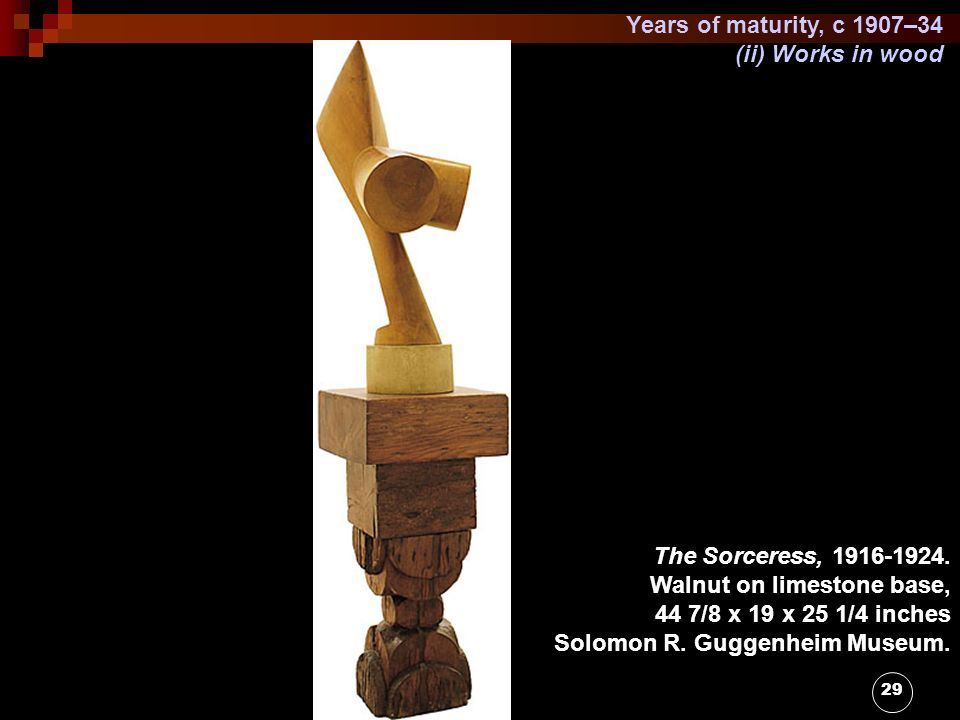 Years of maturity, c 1907–34 (ii) Works in wood. The Sorceress, 1916-1924. Walnut on limestone base,