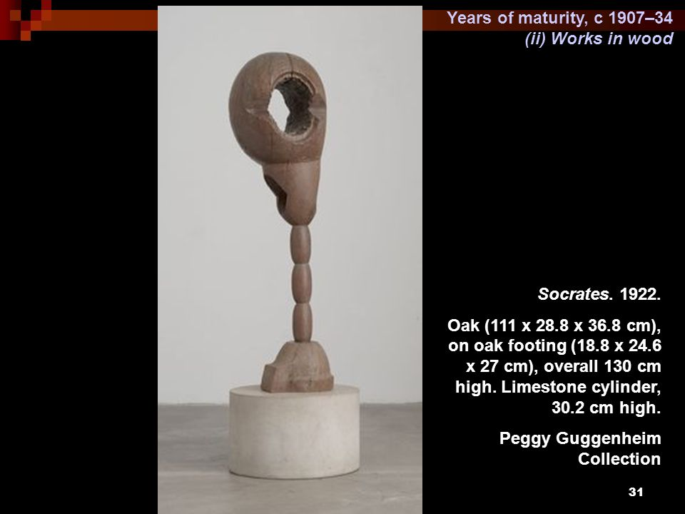 Years of maturity, c 1907–34 (ii) Works in wood. Socrates. 1922.