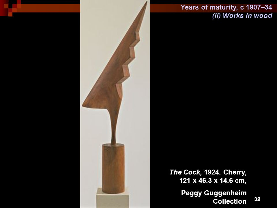 Years of maturity, c 1907–34 (ii) Works in wood. The Cock, 1924.