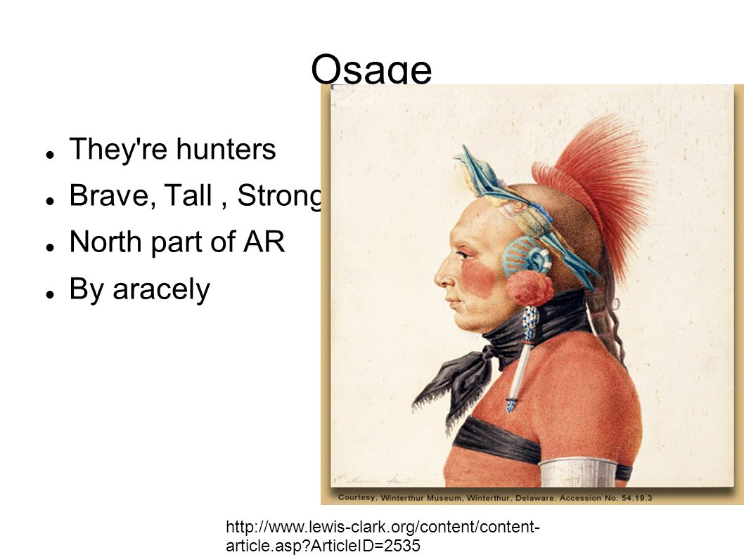 Osage They re hunters Brave, Tall , Strong North part of AR By aracely