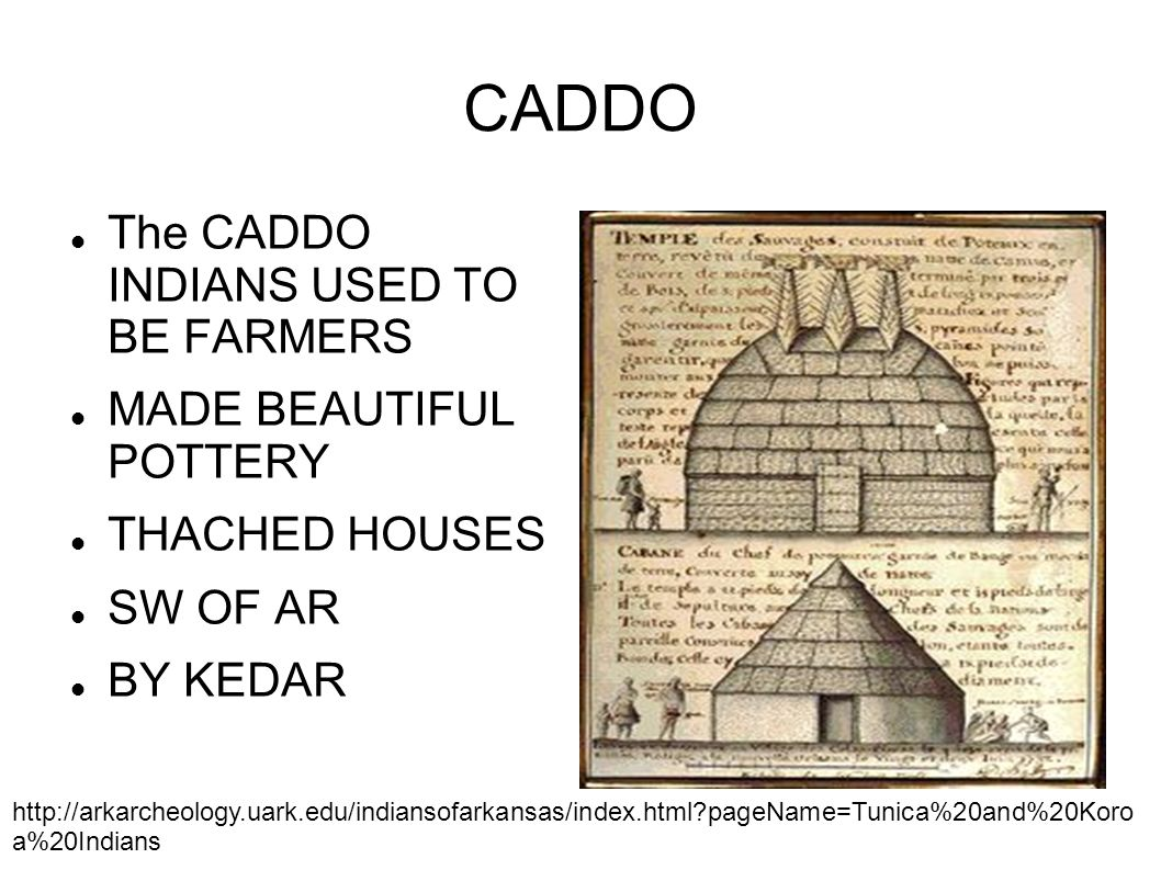 CADDO The CADDO INDIANS USED TO BE FARMERS MADE BEAUTIFUL POTTERY