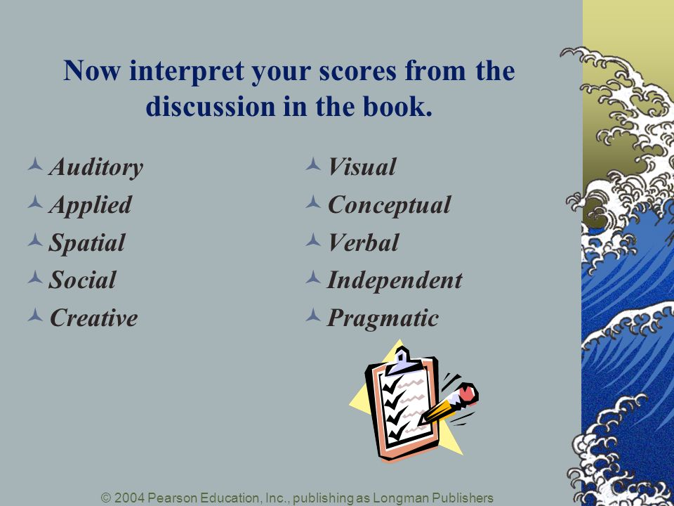 Now interpret your scores from the discussion in the book.