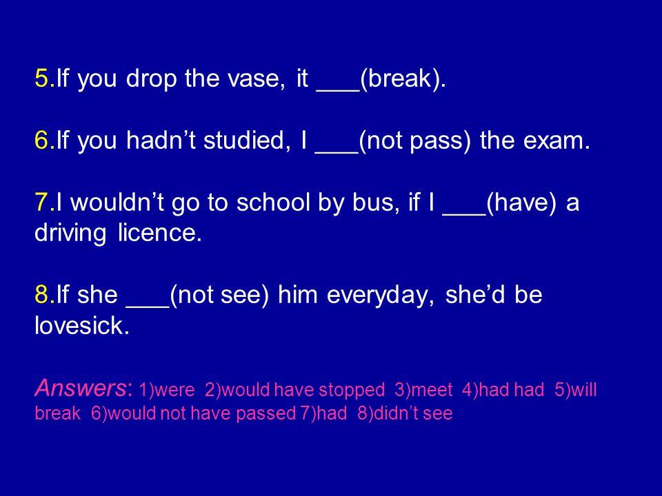 5. If you drop the vase, it ___(break). 6