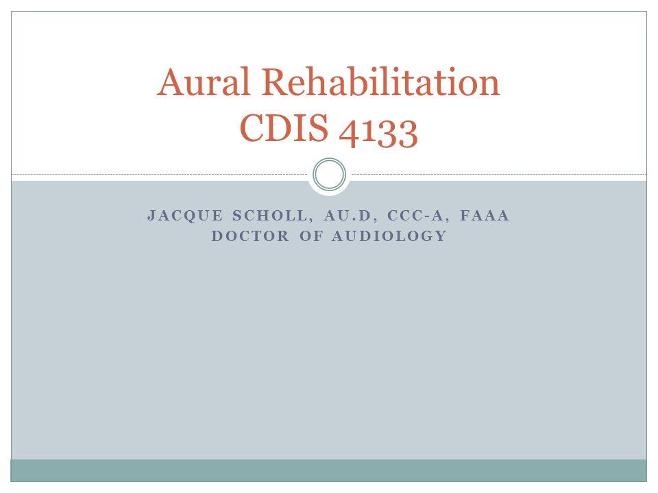 Aural Rehabilitation CDIS 4133