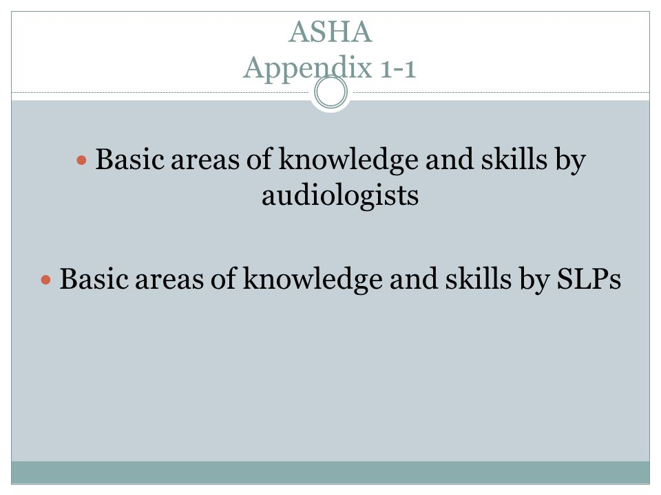 ASHA Appendix 1-1 Basic areas of knowledge and skills by audiologists