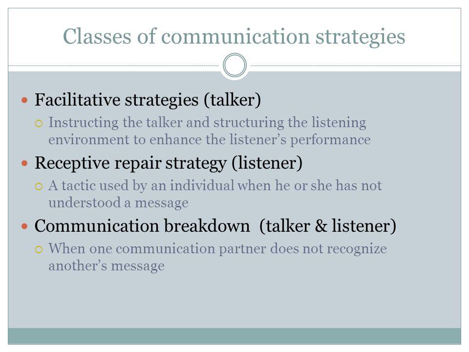 Classes of communication strategies