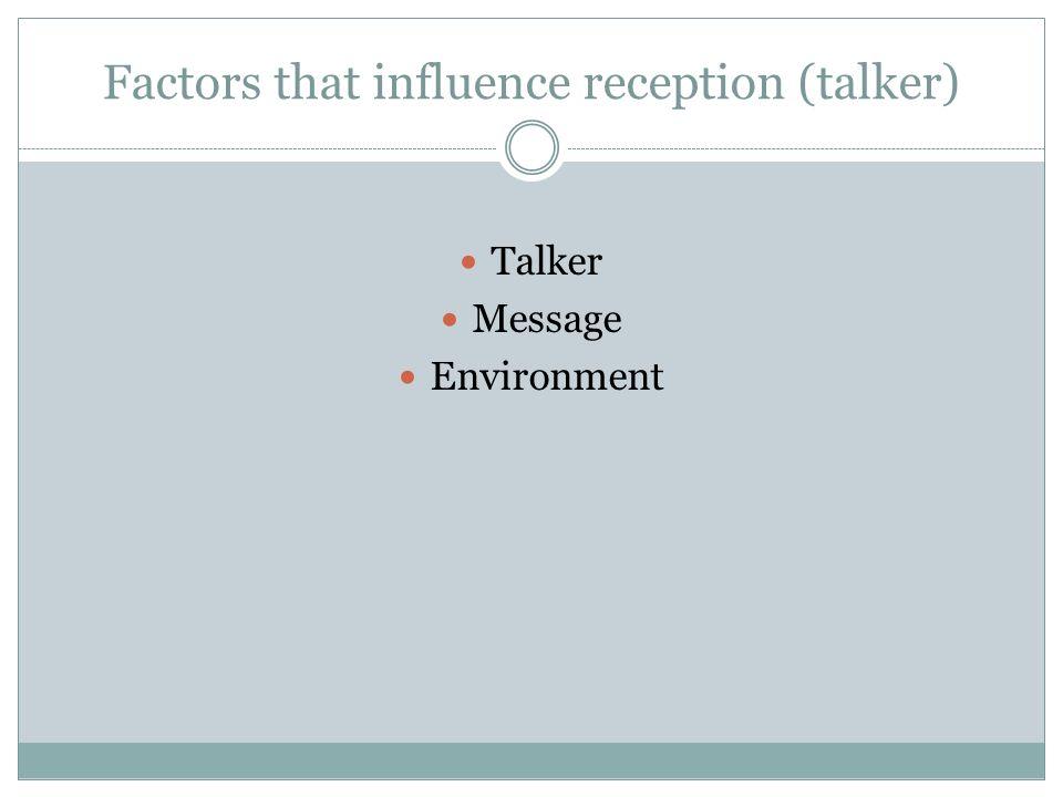Factors that influence reception (talker)