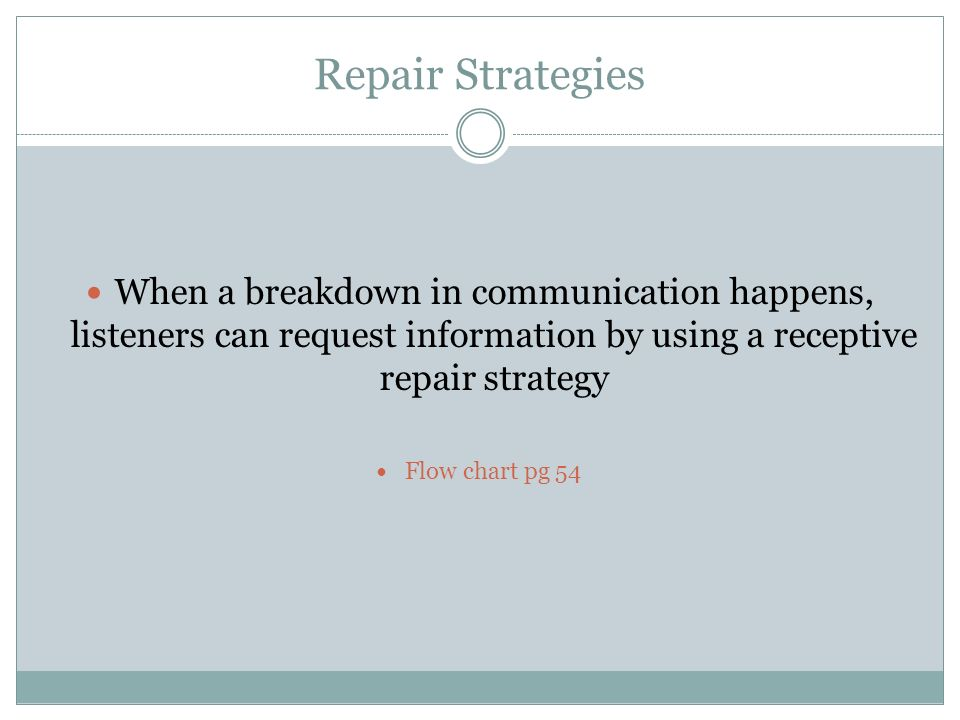 Repair Strategies When a breakdown in communication happens, listeners can request information by using a receptive repair strategy.