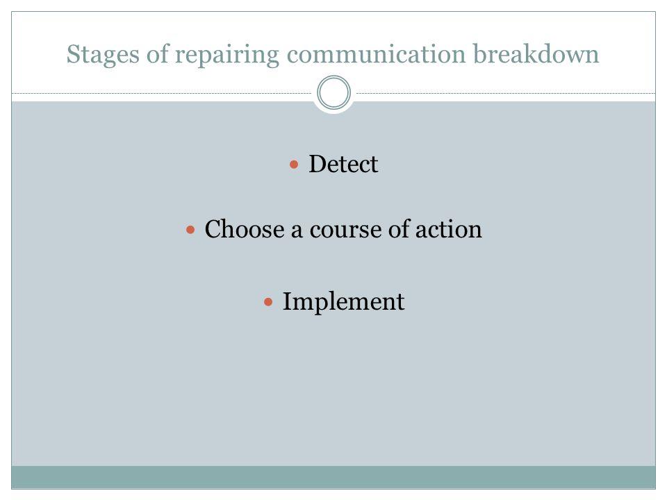 Stages of repairing communication breakdown
