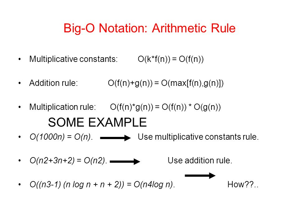 Big-O Notation: Arithmetic Rule
