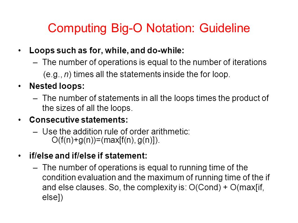 Computing Big-O Notation: Guideline