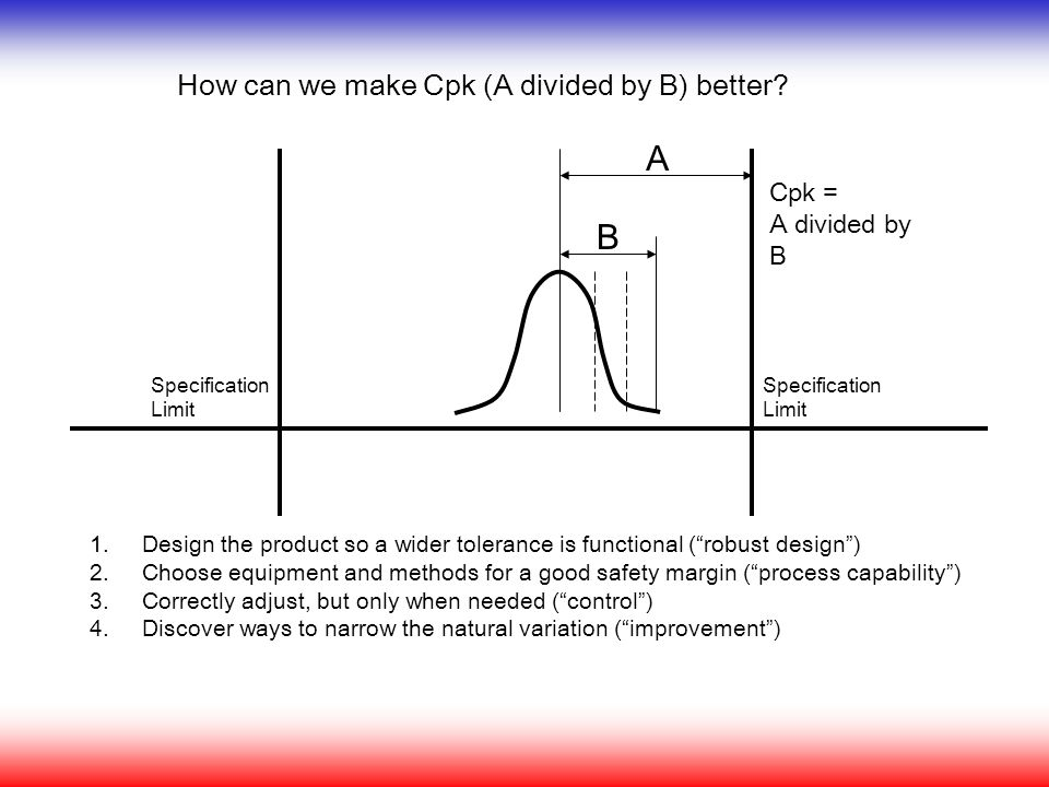 A B How can we make Cpk (A divided by B) better Cpk = A divided by B