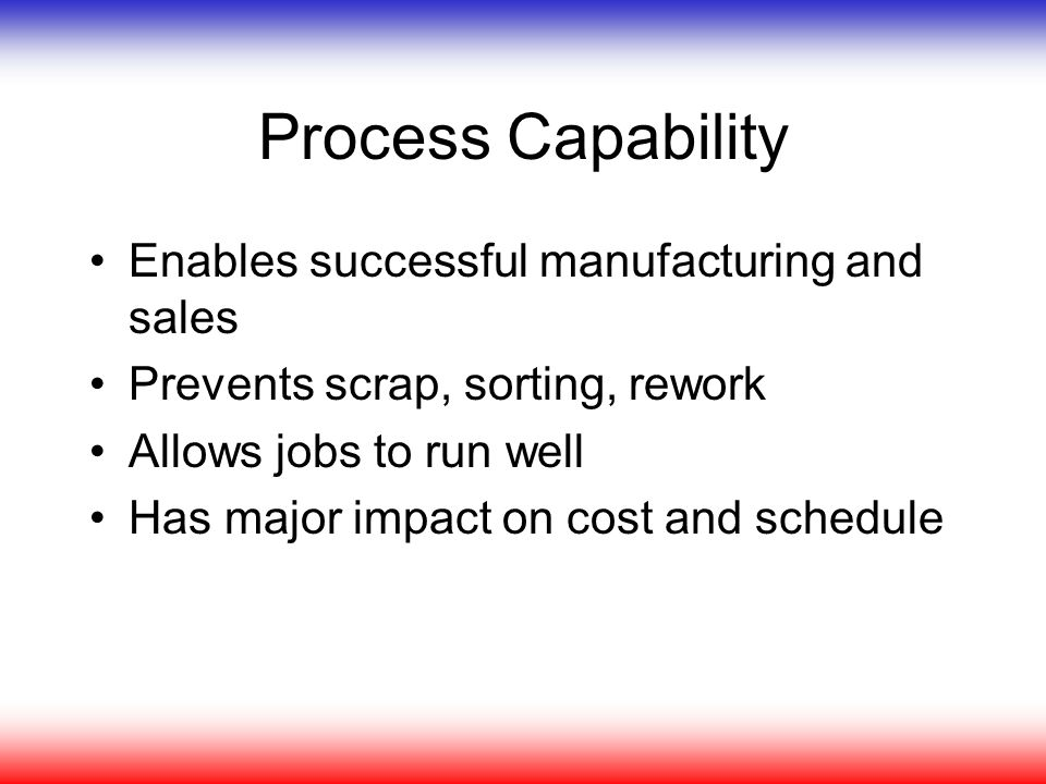 Process Capability Enables successful manufacturing and sales