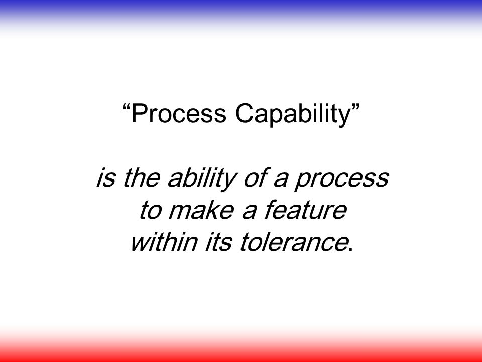 Process Capability is the ability of a process to make a feature within its tolerance.