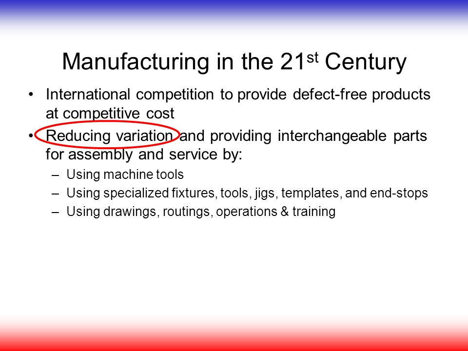 Manufacturing in the 21st Century