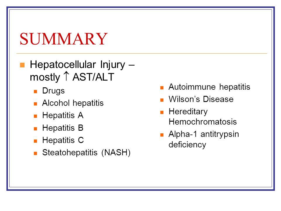 SUMMARY Hepatocellular Injury – mostly  AST/ALT Drugs