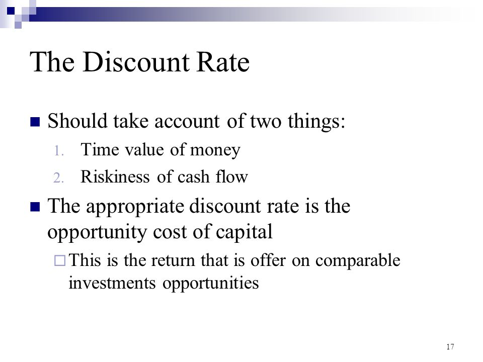 The Discount Rate Should take account of two things: