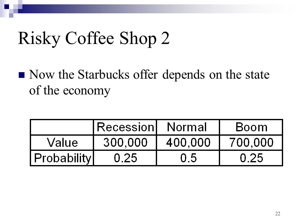 Risky Coffee Shop 2 Now the Starbucks offer depends on the state of the economy