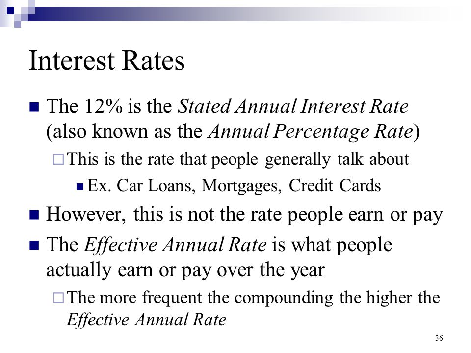 Interest Rates The 12% is the Stated Annual Interest Rate (also known as the Annual Percentage Rate)