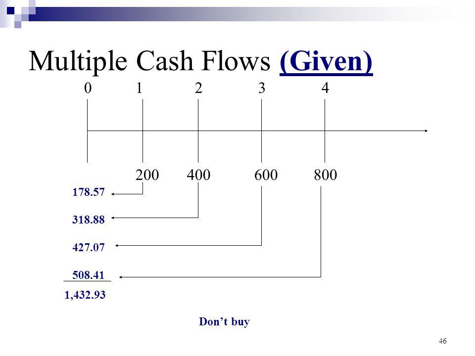 Multiple Cash Flows (Given)