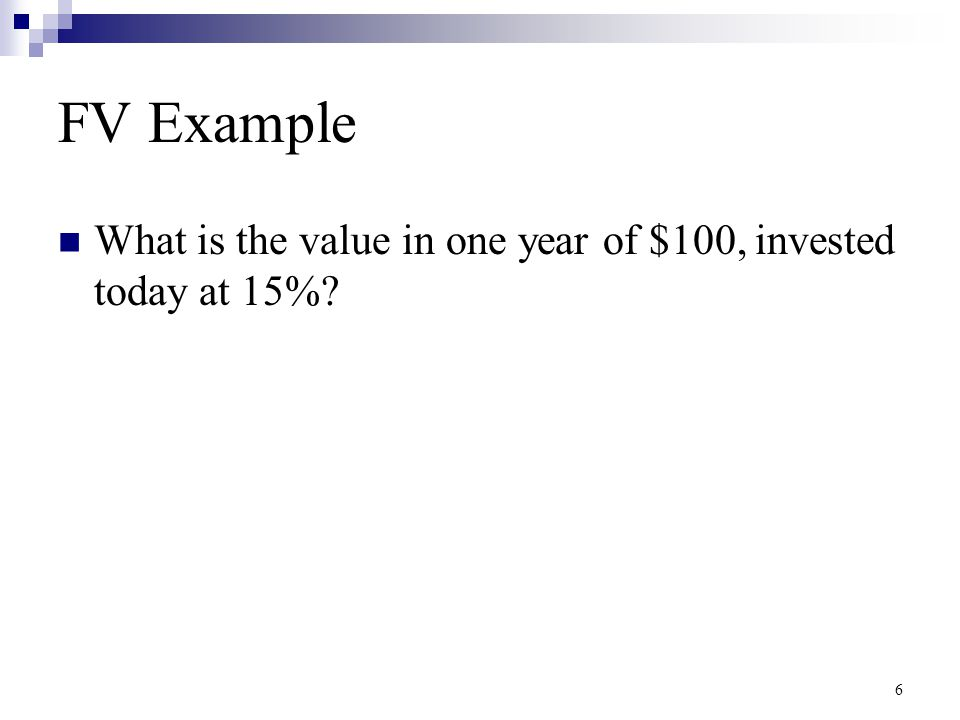 FV Example What is the value in one year of $100, invested today at 15%