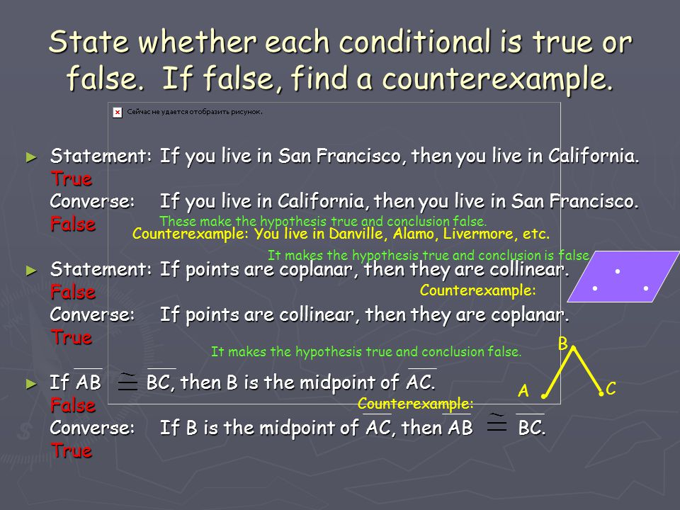 State whether each conditional is true or false