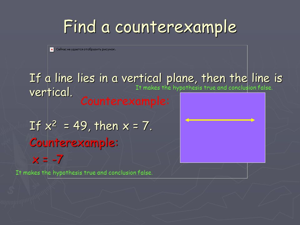 Find a counterexample If a line lies in a vertical plane, then the line is vertical. If x2 = 49, then x = 7.