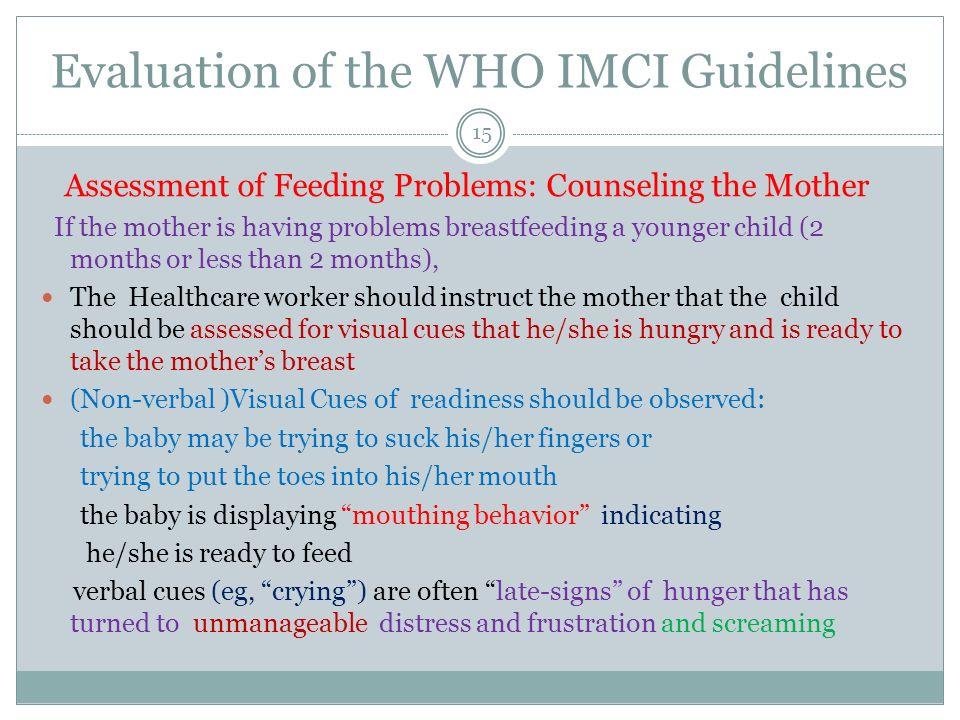 Evaluation of the WHO IMCI Guidelines