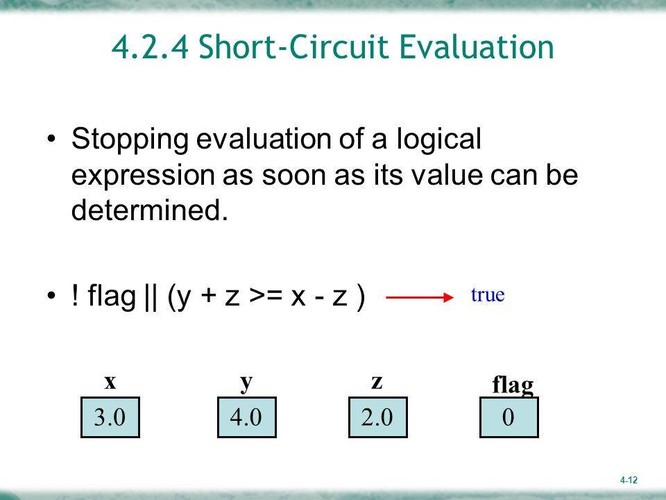 4.2.4 Short-Circuit Evaluation