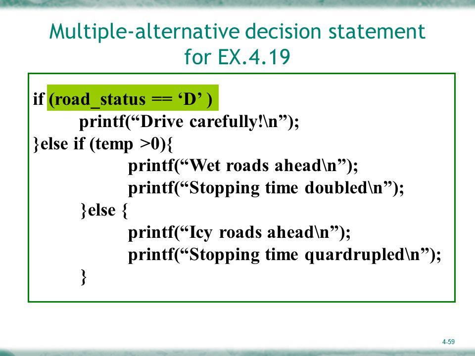 Multiple-alternative decision statement for EX.4.19