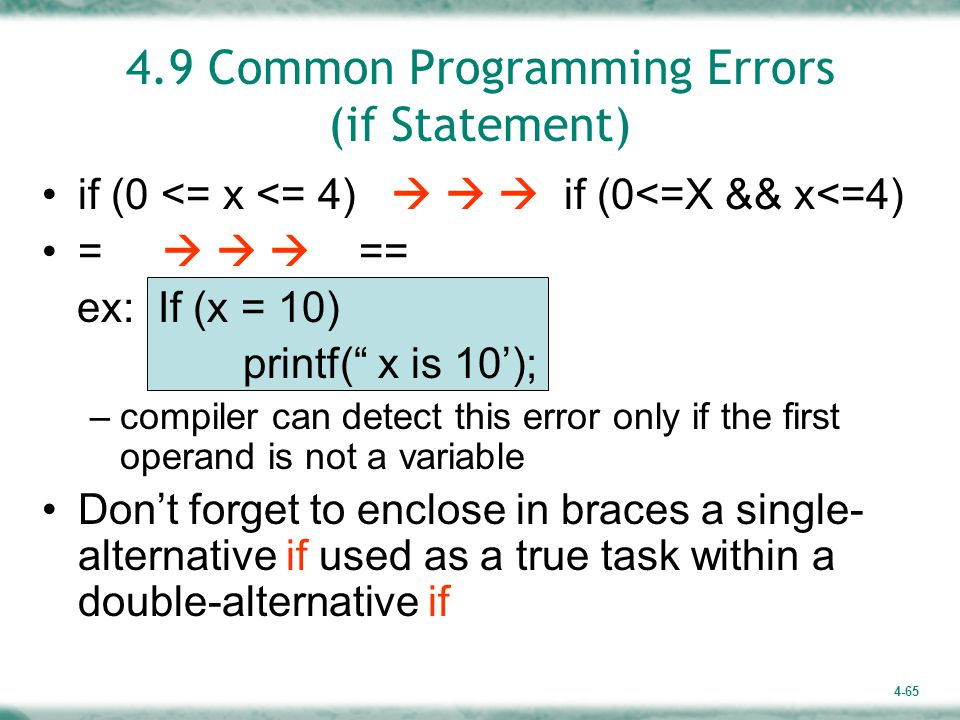 4.9 Common Programming Errors (if Statement)