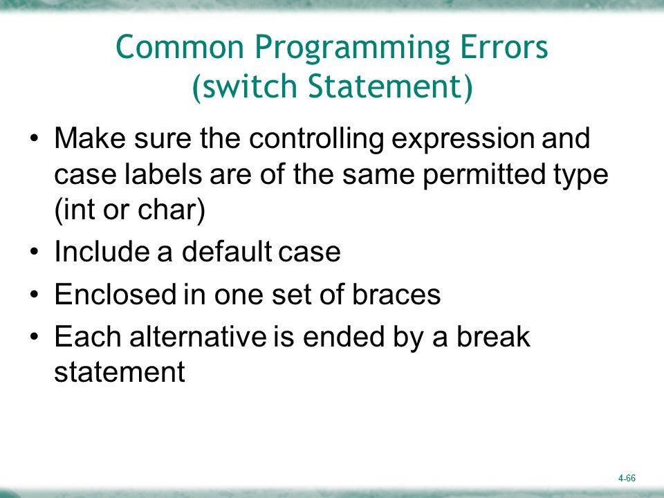 Common Programming Errors (switch Statement)