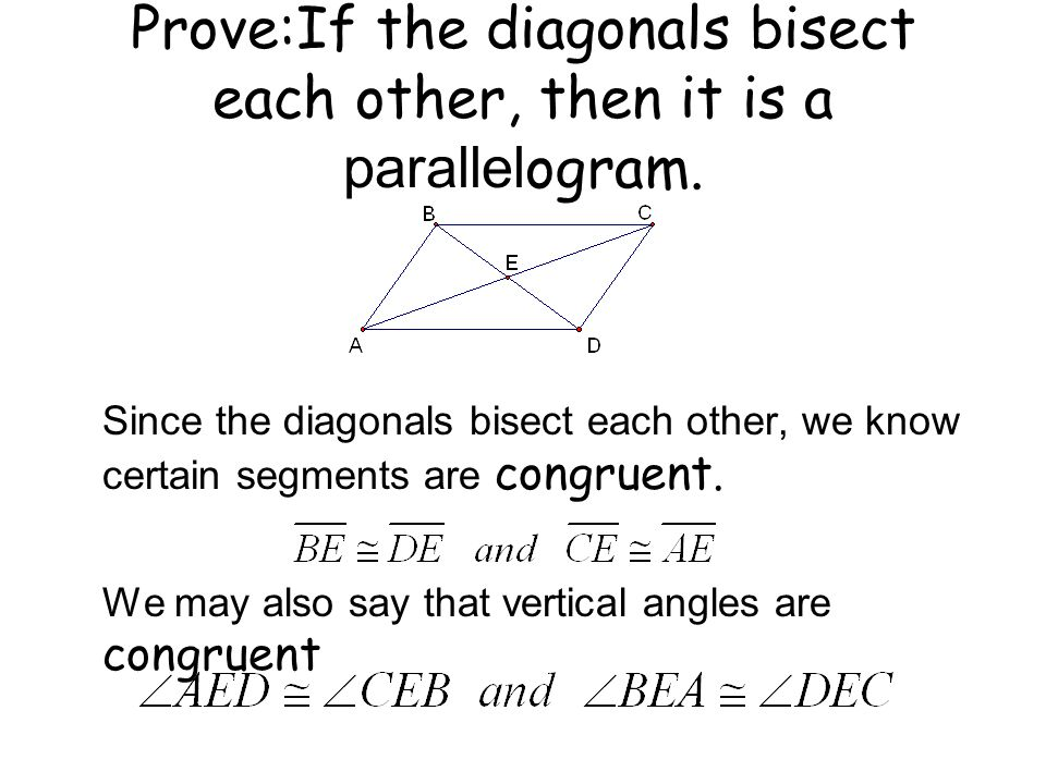 Prove:If the diagonals bisect each other, then it is a parallelogram.
