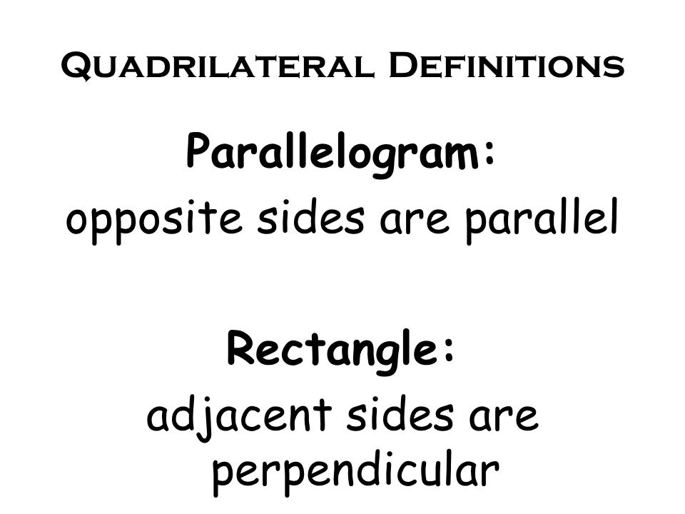 Quadrilateral Definitions