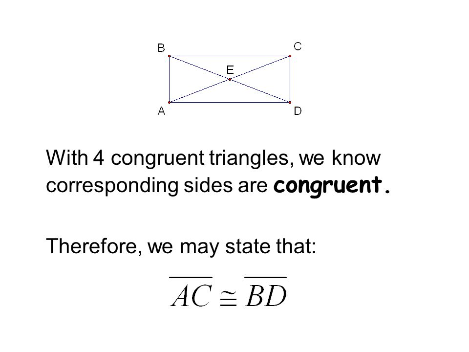 With 4 congruent triangles, we know corresponding sides are congruent.