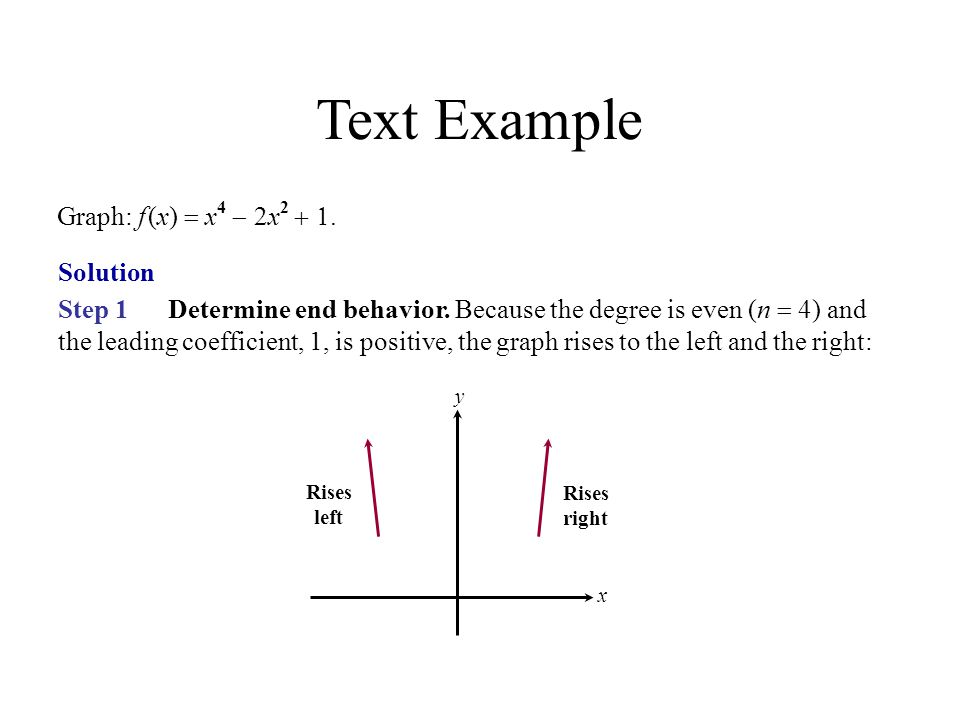 Text Example Graph: f (x) = x4 - 2x2 + 1. Solution