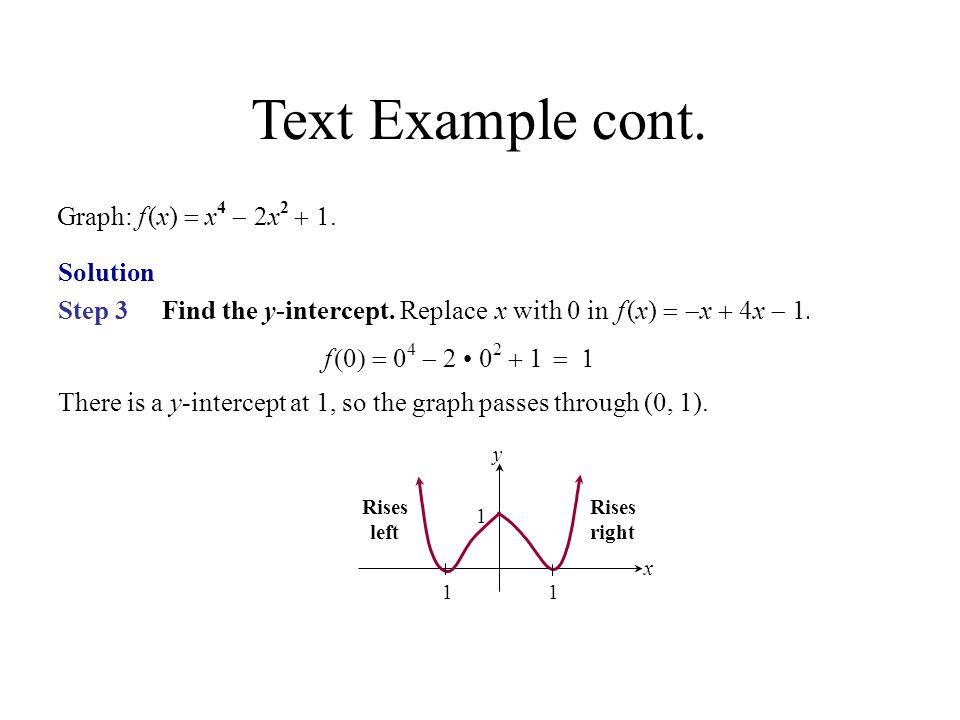 Text Example cont. Graph: f (x) = x4 - 2x2 + 1. Solution