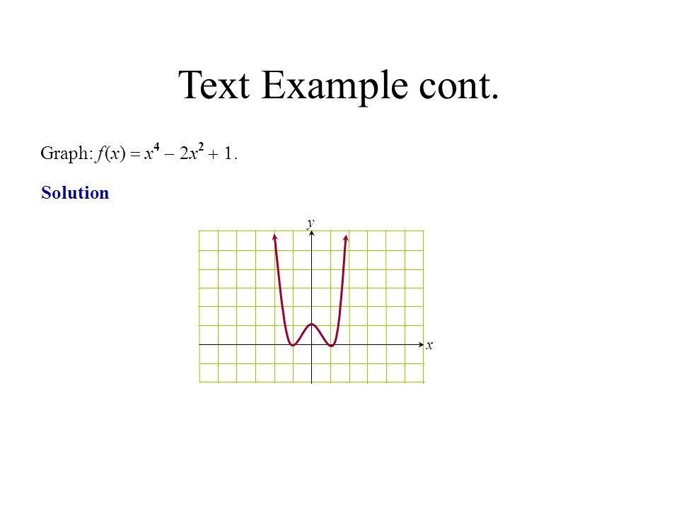 Text Example cont. Graph: f (x) = x4 - 2x2 + 1. Solution y x