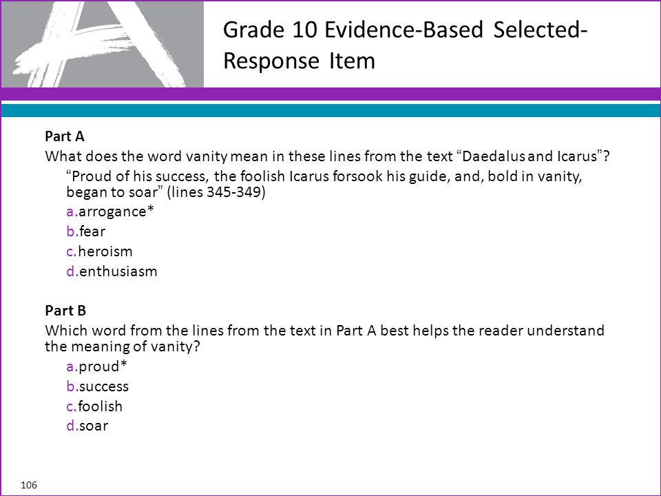 Grade 10 Evidence-Based Selected-Response Item