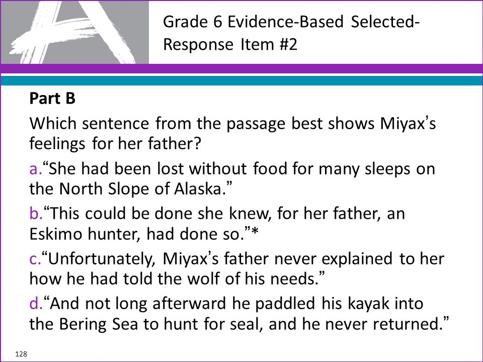 Grade 6 Evidence-Based Selected-Response Item #2