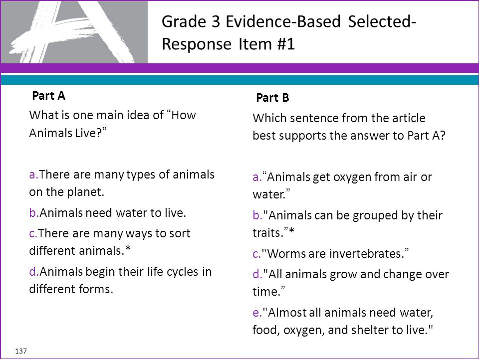 Grade 3 Evidence-Based Selected-Response Item #1