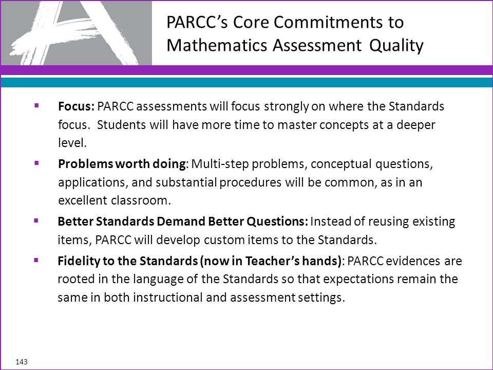 PARCC's Core Commitments to Mathematics Assessment Quality