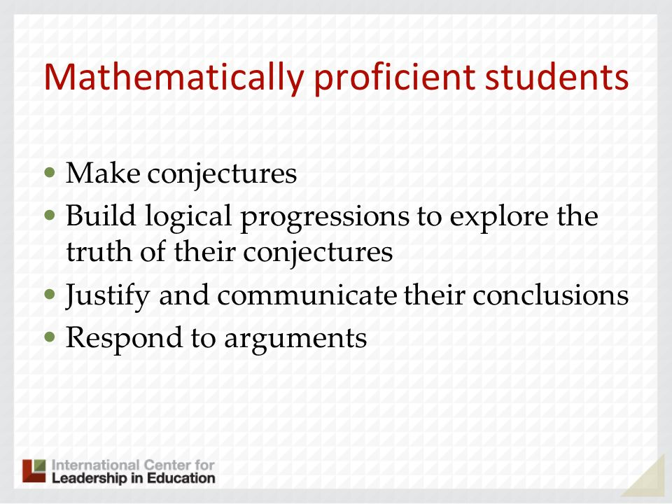 Mathematically proficient students