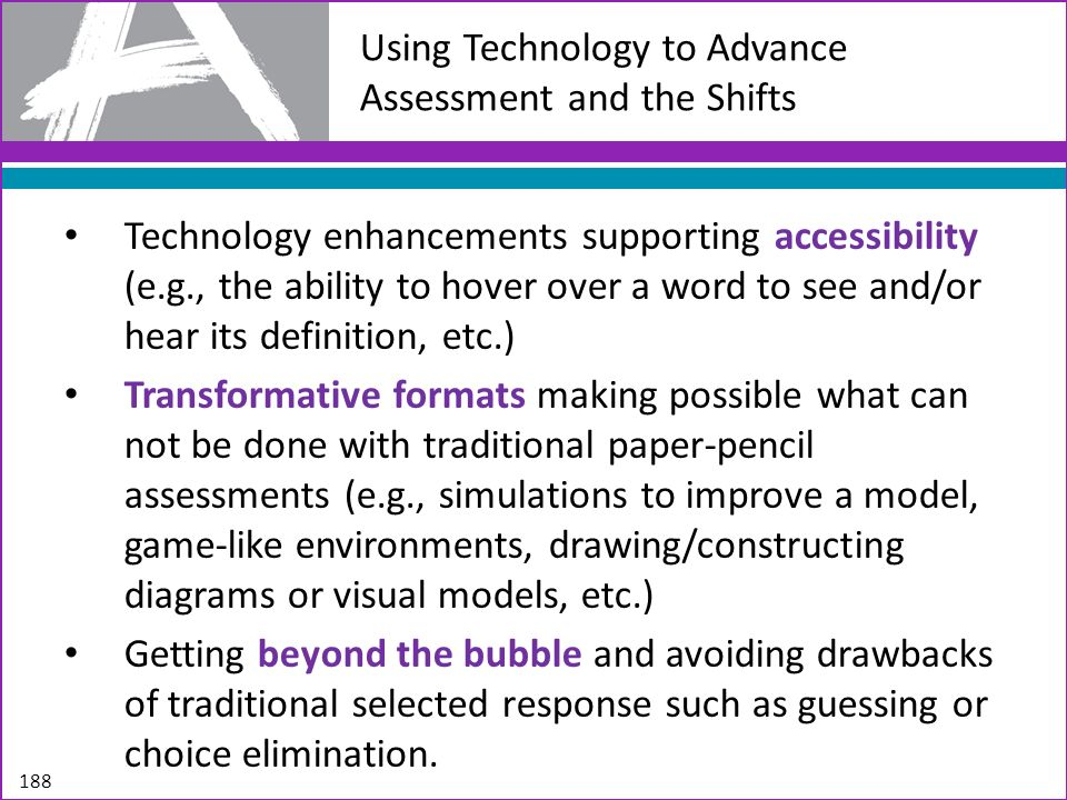 Using Technology to Advance Assessment and the Shifts