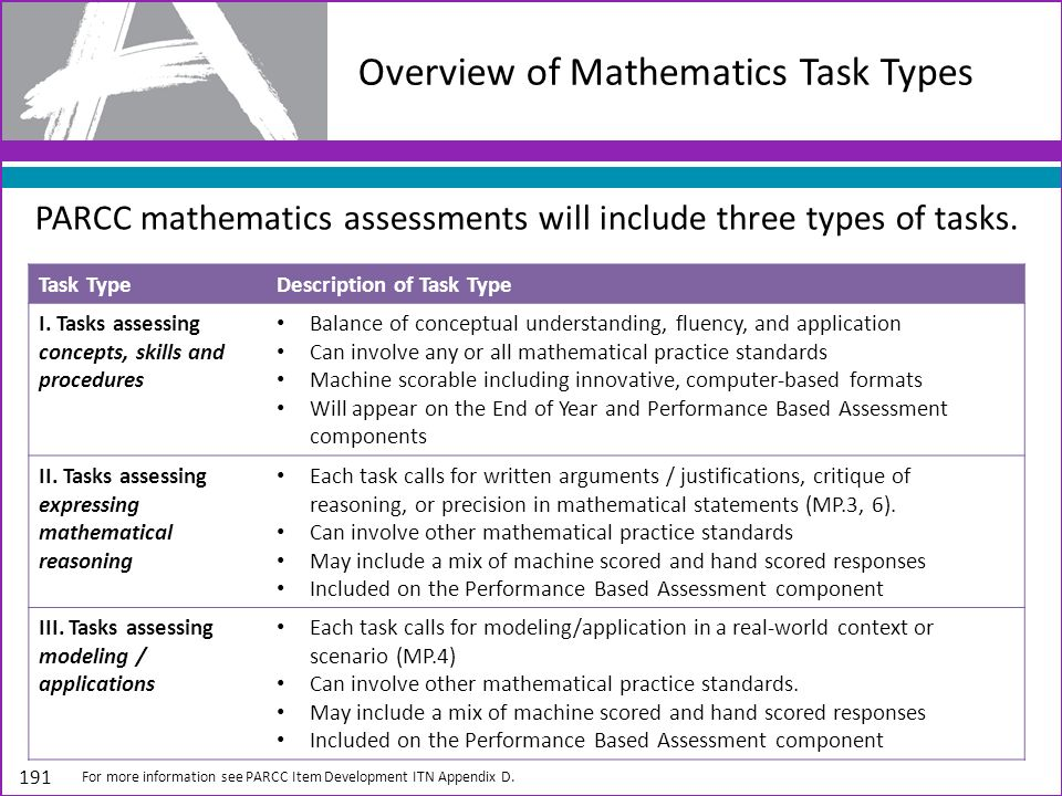 Overview of Mathematics Task Types