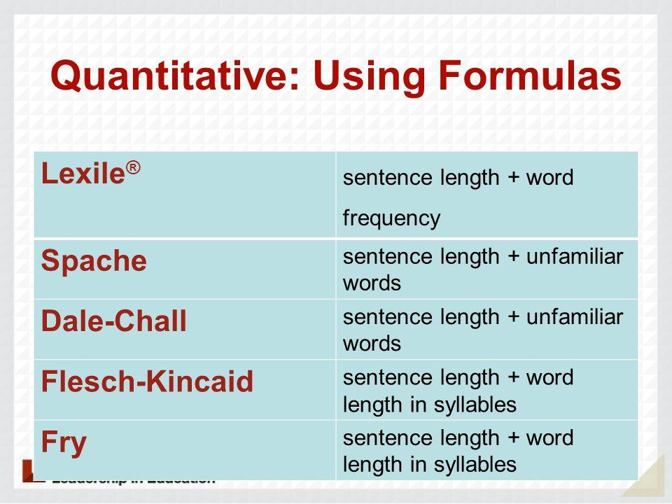Quantitative: Using Formulas