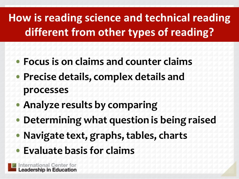 How is reading science and technical reading different from other types of reading