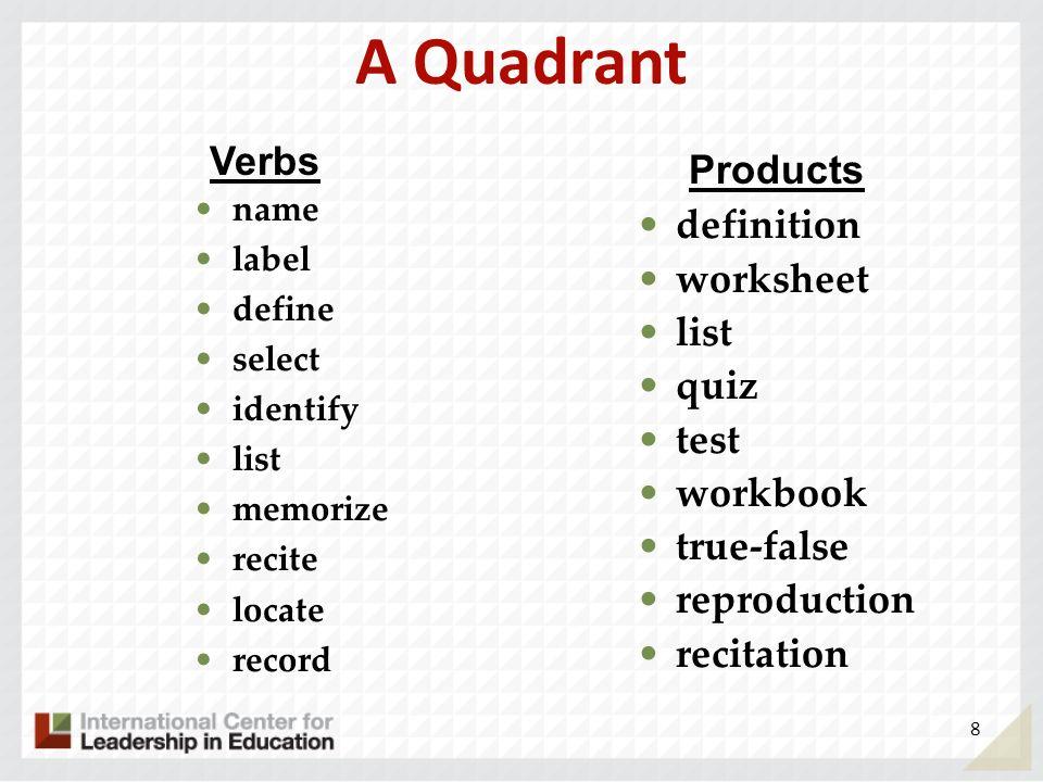 A Quadrant Verbs Products definition worksheet list quiz test workbook
