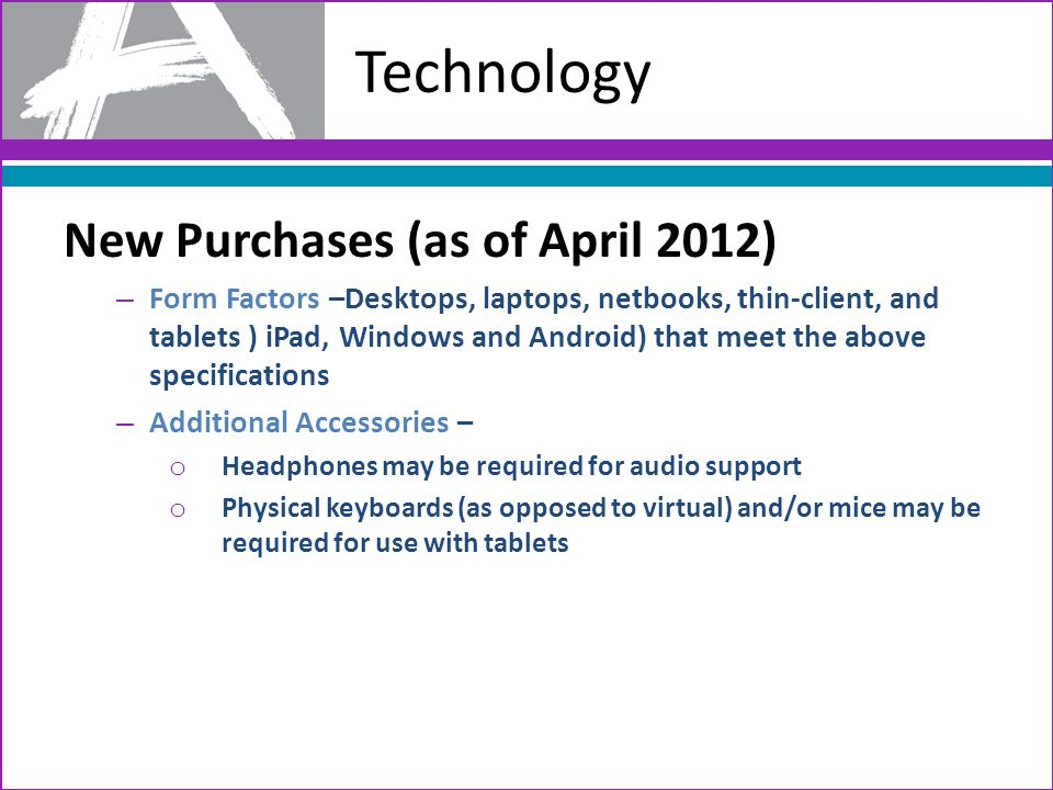 Technology New Purchases (as of April 2012)