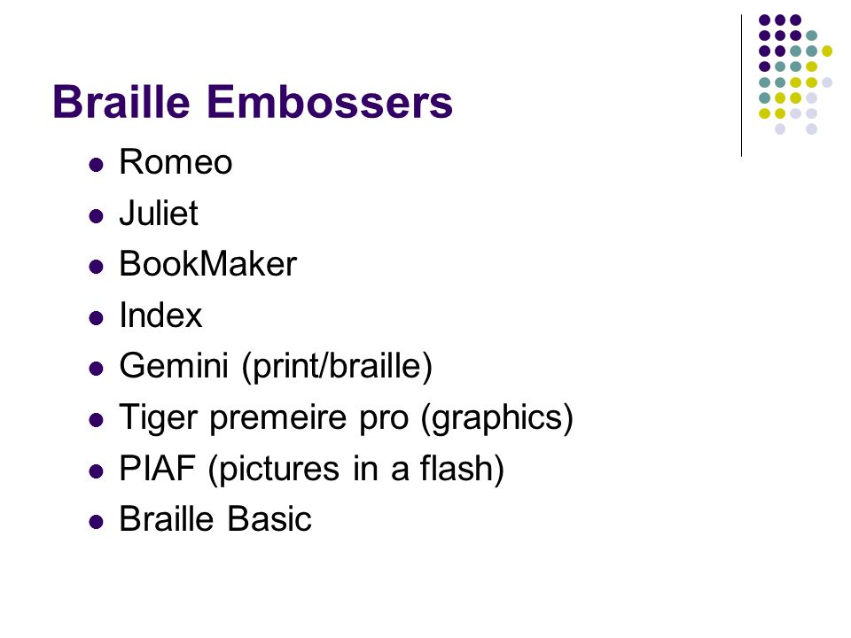 Braille Embossers Romeo Juliet BookMaker Index Gemini (print/braille)